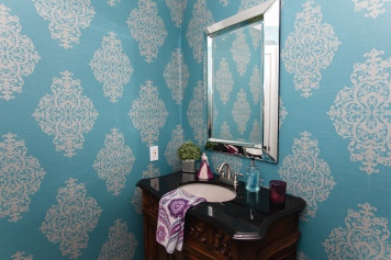 wallpaper and decor with blue wallpaper in bathroom
