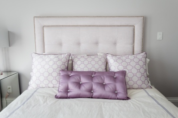 customized purple pillows in bedding showroom