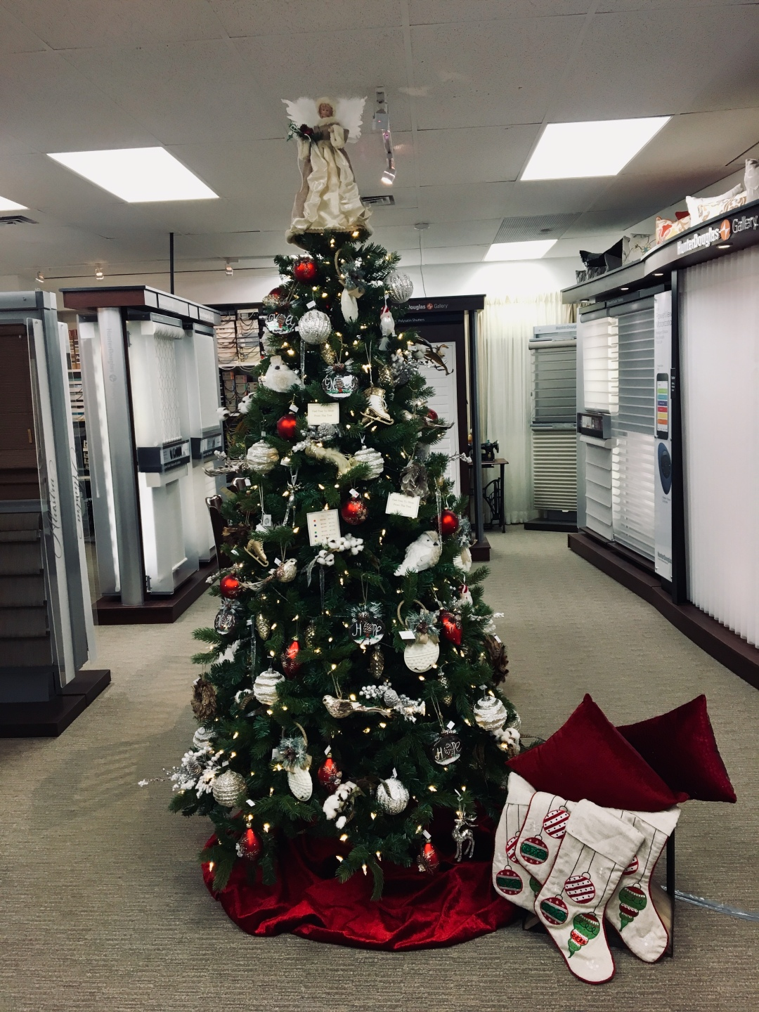 Maple Drapery's Christmas tree at the King City Showroom